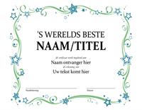 Certificaat voor de beste ter wereld
