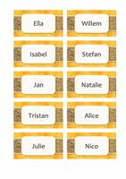 Naam- of plaatskaarten (ontwerp met zon en zand, 10 pagina's)