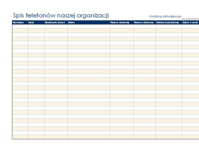 Spis telefonów organizacji