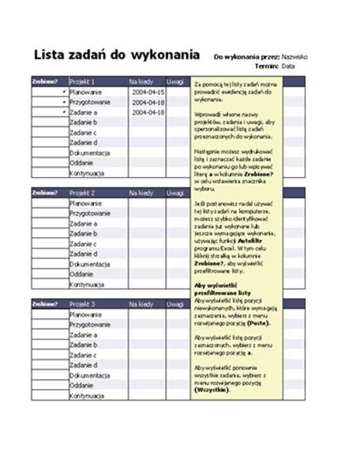 Lista zadań do wykonania do projektów