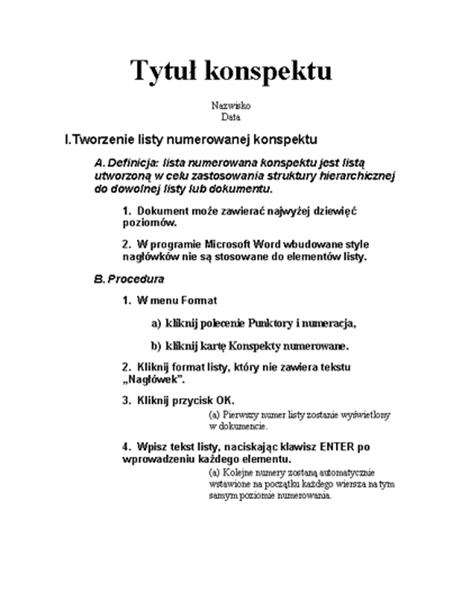 Konspekt z pięcioma poziomami oraz instrukcje