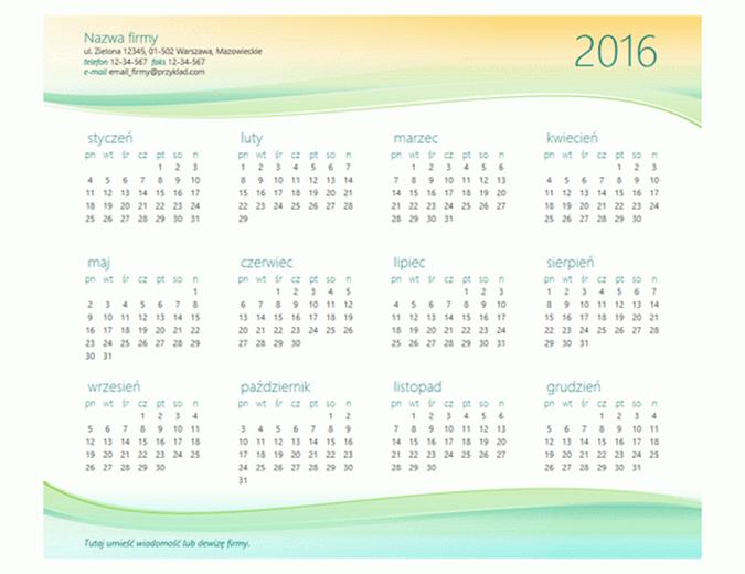 Mały kalendarz biznesowy (dowolny rok)
