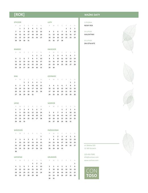 Mały kalendarz biznesowy (dowolny rok, pon.–niedz.)