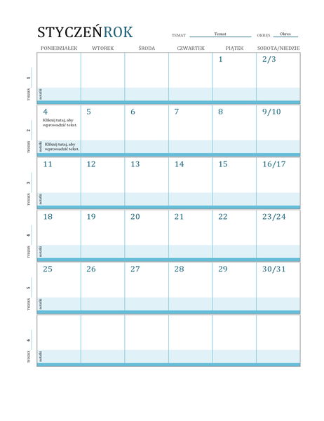 Kalendarz z planem lekcji