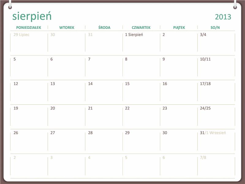 Kalendarz akademicki 2013/2014 (sierpień)