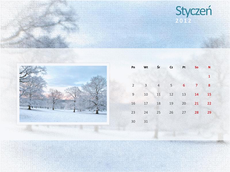Kalendarz na rok 2012 z fotografiami — pierwszy kwartał