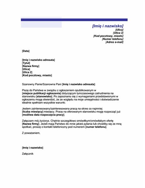 List motywacyjny dotyczący pracy tymczasowej (motyw niebieskiej linii)