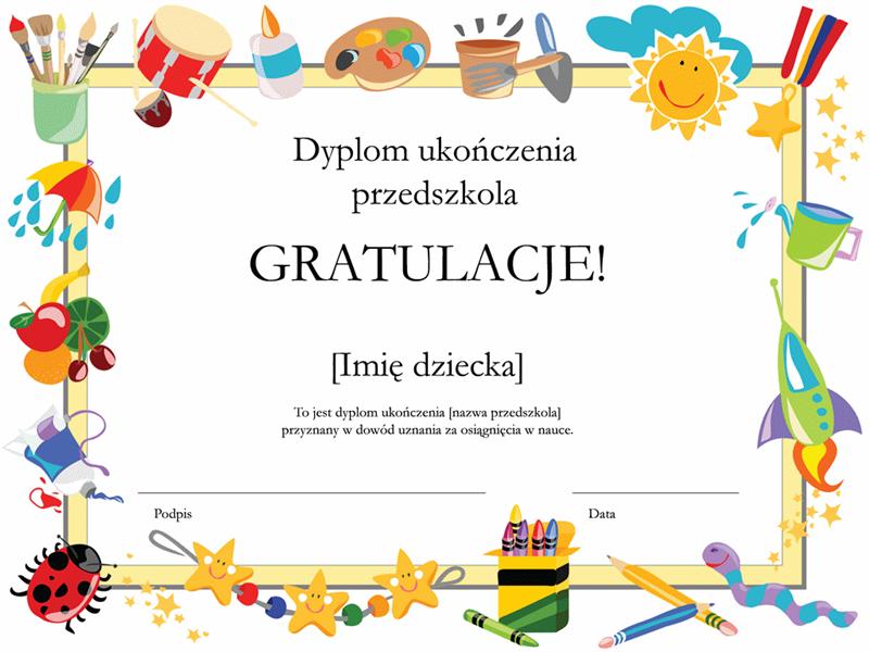 Dyplom ukończenia przedszkola