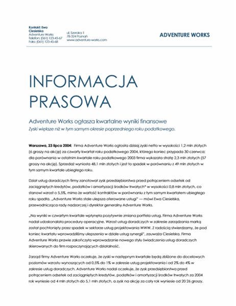 Kwartalne wyniki finansowe — informacja prasowa