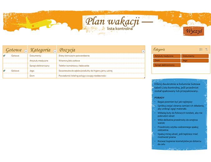 Plan wakacji — lista kontrolna