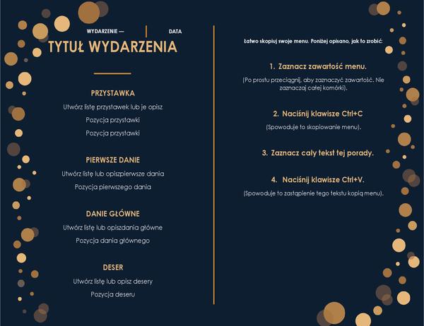 Eleganckie menu