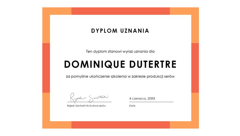 Dyplom uznania (niebieski)
