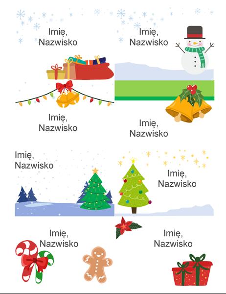 Świąteczne etykiety imienne (projekt Świąteczny nastrój, 8 na stronę, pasuje do papierów Avery 5395 i podobnych)