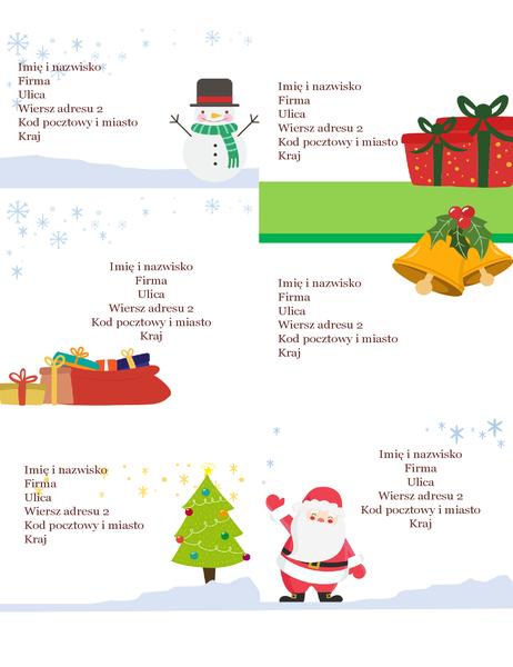 Świąteczne etykiety wysyłkowe (projekt Świąteczny nastrój, 6 na stronę, pasuje do papierów Avery 5164 i podobnych)