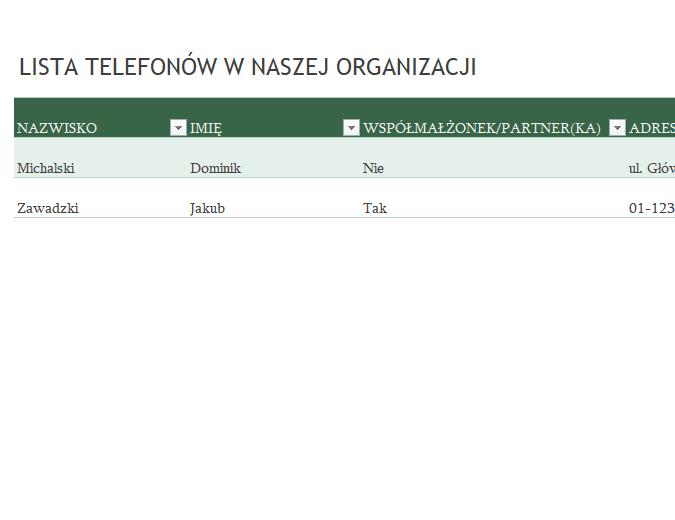 Lista telefonów pracowników