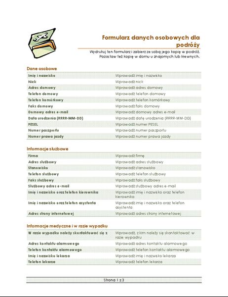 Formularz planu podróży i danych osobowych