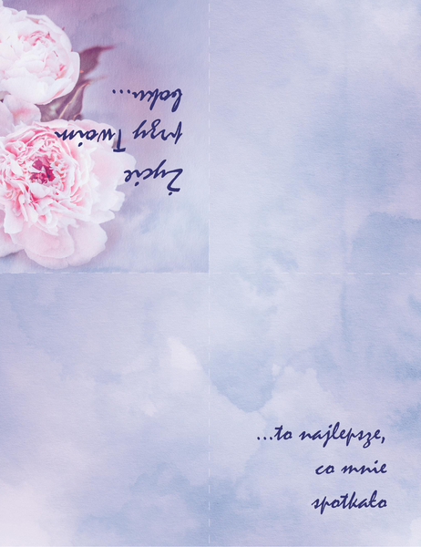 Kartka romantyczna (z różą, składana na cztery)