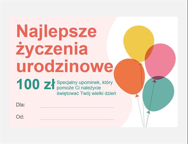 Karta podarunkowa z okazji urodzin