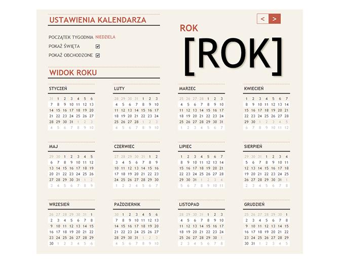 Kalendarz na dowolny rok ze świętami