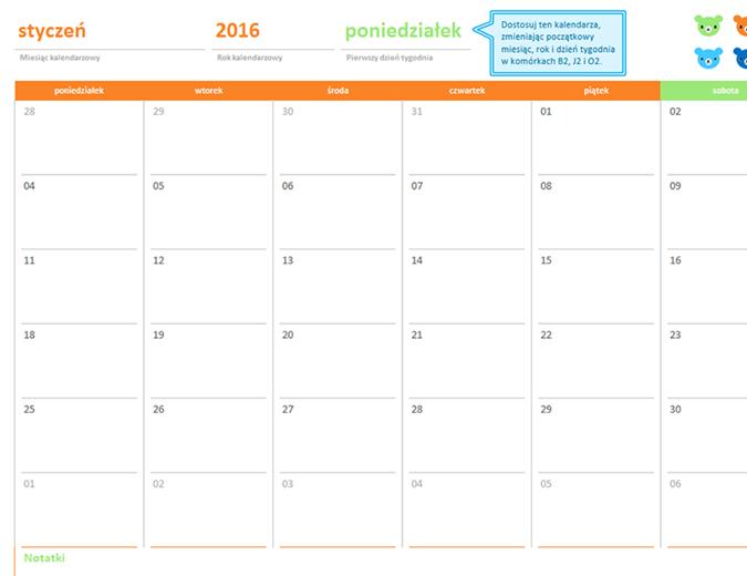 Kalendarz miesięczny na dowolny rok (12 stron, projekt Tęczowe misie)