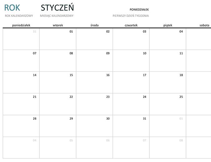 Kalendarz jednomiesięczny na dowolny rok