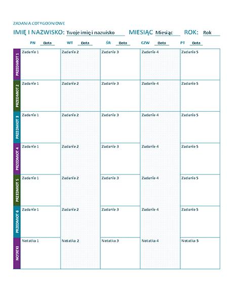 Arkusz zadań w tygodniu (kolorowy)