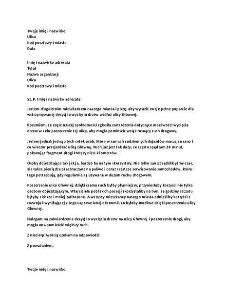 List poparcia do lokalnego urzędu
