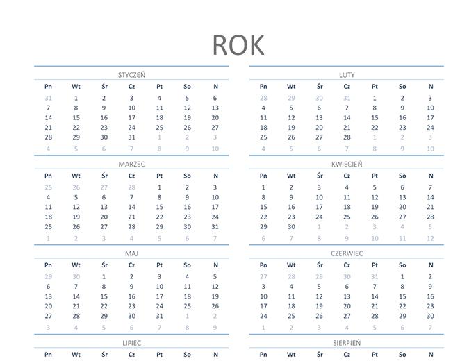 Kalendarz na dowolny rok (pon.–niedz.)