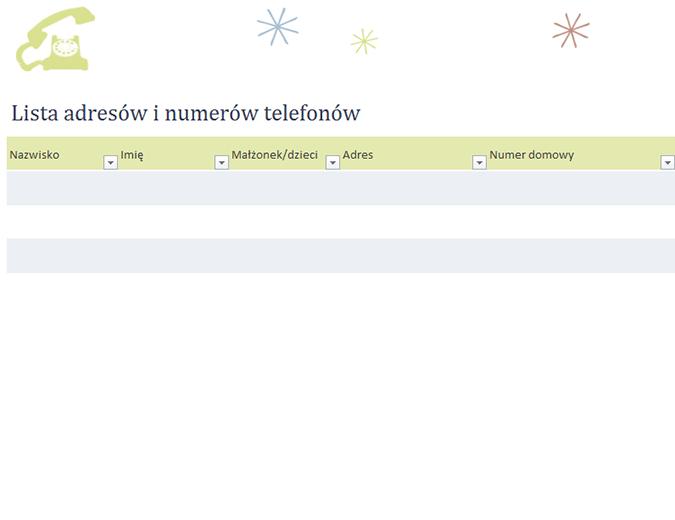 Lista adresów i numerów telefonów