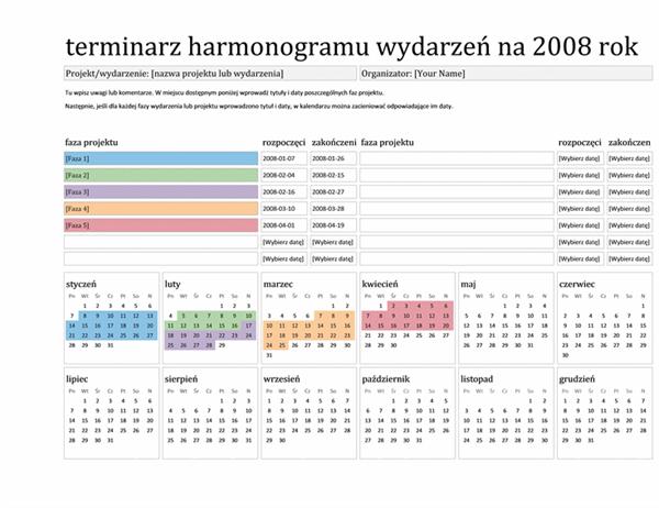 Terminarz harmonogramu wydarzeń na 2008 rok (od poniedziałku do niedzieli)