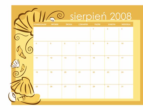 Kalendarz akademicki 2008/2009 (motyw na każdy miesiąc, 13 stron, poniedziałek–niedziela, sierpień–sierpień)
