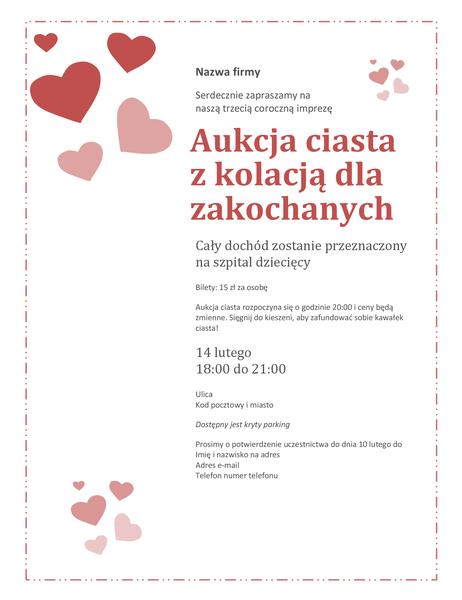 Zaproszenie na walentynkową aukcję ciasta dla zakochanych