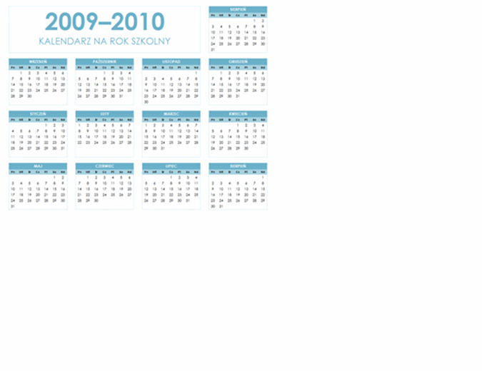 Kalendarz akademicki 2009/2010 (1 strona, poziomy, pon.–niedz.)