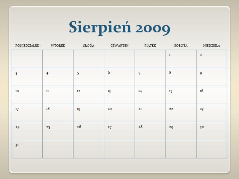 Kalendarz akademicki 2009/2010 (13 stron, pon.–niedz.)