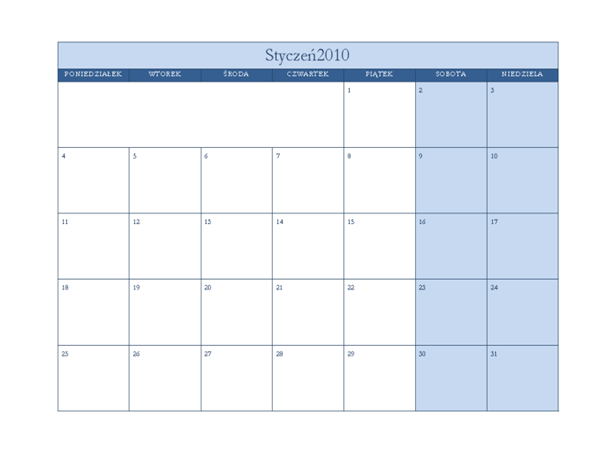 Kalendarz na rok 2010 (projekt klasyczny, niebieski, pon.–niedz.)