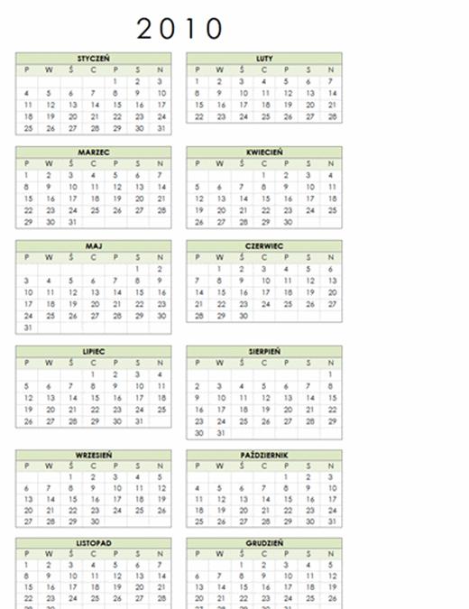 Kalendarz na rok 2010 (1 strona, pionowy, pon.–niedz.)