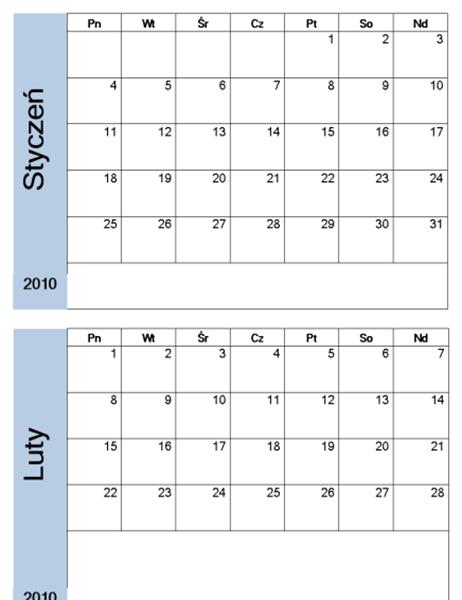 Kalendarz na rok 2010 z niebieskim obramowaniem (6 stron)