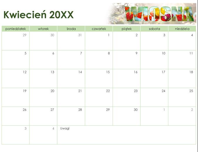 Kalendarz sezonowy z fotografiami