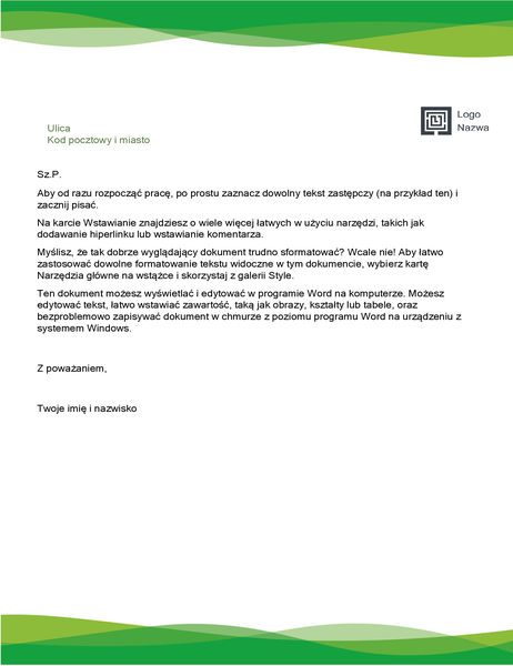 Nagłówek listowy (projekt Zielona fala)