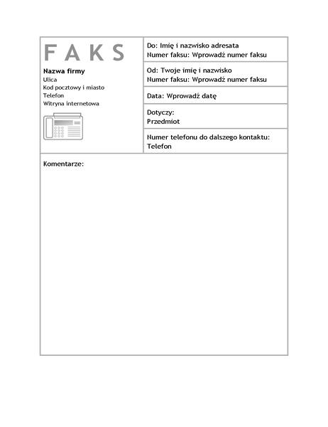 Arkusz strony tytułowej faksu służbowego
