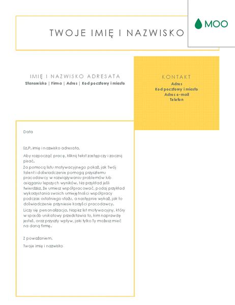 Przejrzysty i schludny list motywacyjny, zaprojektowany przez firmę MOO