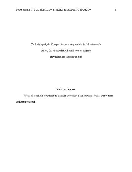 Dokument w stylu APA