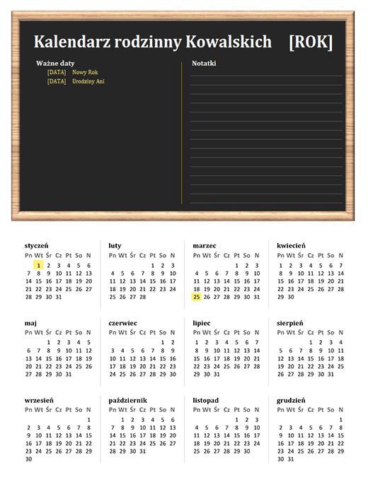 Kalendarz rodzinny (dowolny rok, pon.–niedz.)
