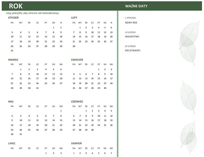 Kalendarz biznesowy (dowolny rok, niedz.–sob.)
