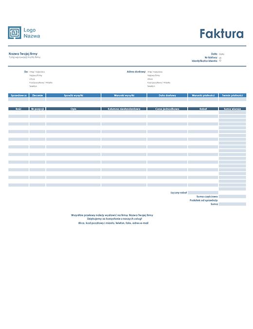 Faktura sprzedaży (prosty niebieski projekt)