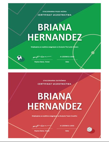 Cztery certyfikaty na nagrody sportowe