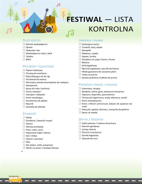 Lista kontrolna dotycząca festiwalu