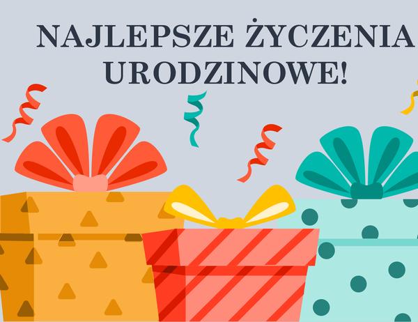 Radosna karta urodzinowa z prezentami