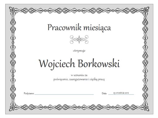 Dyplom dla pracownika miesiąca (motyw Szary łańcuch)