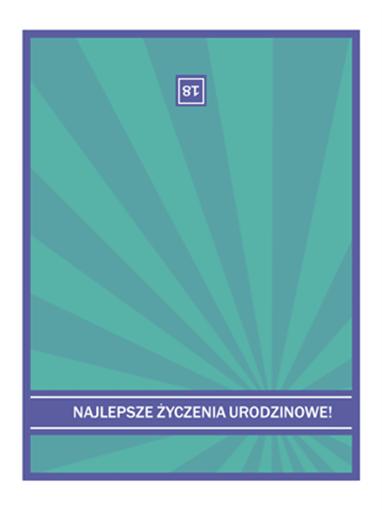 Kartka urodzinowa (niebieskie promienie)